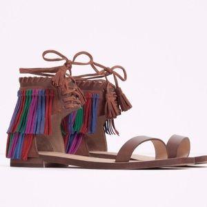 NWT Zara Festival Leather Fringe Sandals Sz 7.5